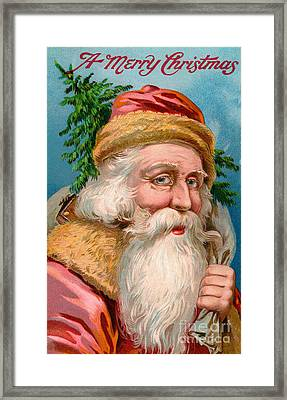 Santa Claus With Christmas Tree Framed Print by American School