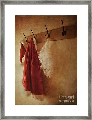 Santa Costume Hanging On Coat Hook/digital Painting  Framed Print by Sandra Cunningham