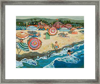 Santa Cruz Beach Boardwalk Framed Print by Jen Norton