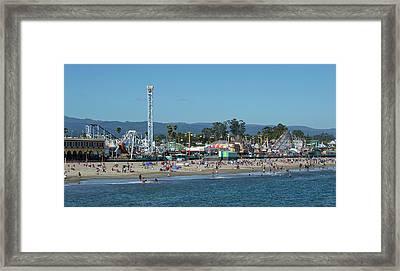 Santa Cruz Boardwalk And Beach - California Framed Print by Brendan Reals