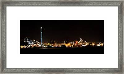 Santa Cruz Boardwalk By Night Framed Print by Brendan Reals