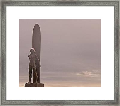 Santa Cruz Santa Surfer  Framed Print