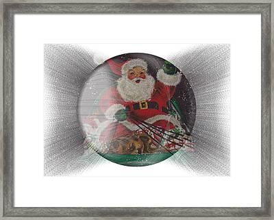 Santa Delivering Gifts Framed Print