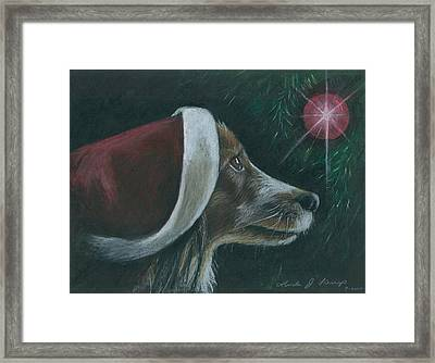 Santa Dog Framed Print