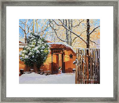 Santa Fe Adobe In Winter Snow Framed Print by Gary Kim