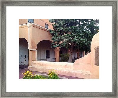 Santa Fe Church Courtyard Framed Print by Charlie Spear