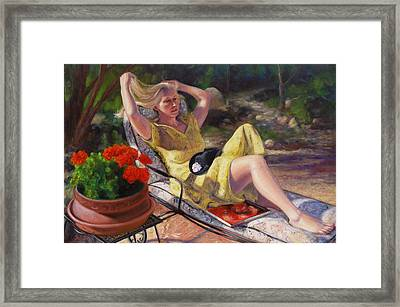 Framed Print featuring the painting Santa Fe Garden 4 by Donelli  DiMaria