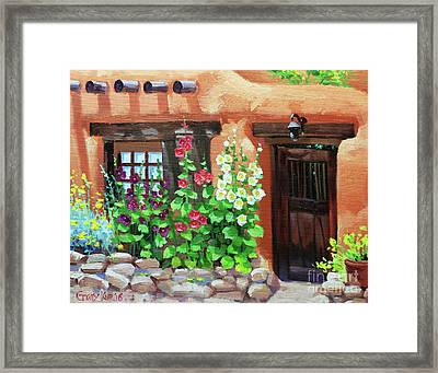 Santa Fe Hollyhocks Framed Print by Gary Kim