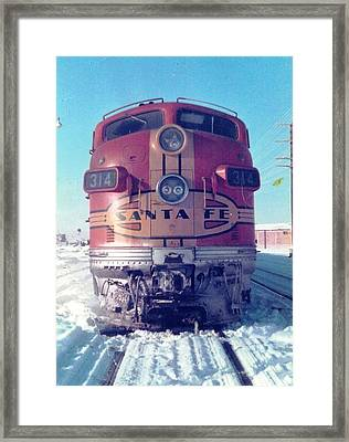 Santa Fe Locomotive At Gallup New Mexico Framed Print