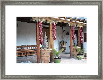 Framed Print featuring the photograph Santa Fe Red Chili Ristra Porch by Andrea Hazel Ihlefeld
