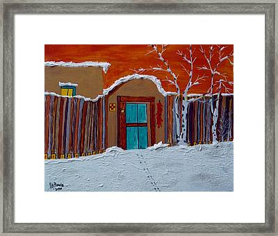 Santa Fe Snowstorm Framed Print