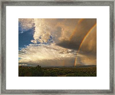 Santa Fe Summer Sky With Double Rainbow Framed Print