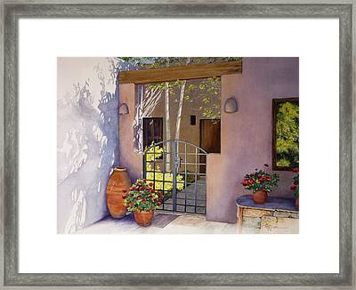 Santa Fe Sunlit Patio Framed Print