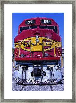 Santa Fe Train Head On Framed Print by Garry Gay
