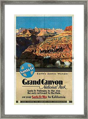 Santa Fe Train To Grand Canyon - Vintage Poster Folded Framed Print