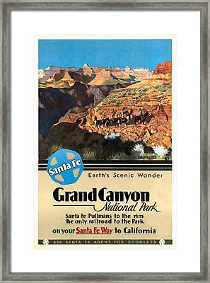 Santa Fe Train To Grand Canyon - Vintage Poster Restored Framed Print