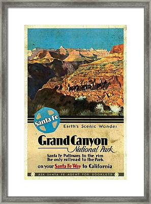 Santa Fe Train To Grand Canyon - Vintage Poster Vintagelized Framed Print