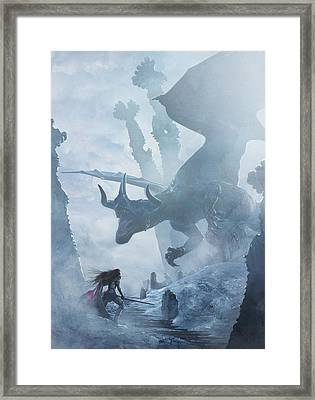 Santa Georgina Vs The Dragon Framed Print by Guillem H Pongiluppi