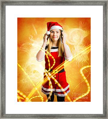 Santa Girl Listening To Abstract Christmas Music Framed Print