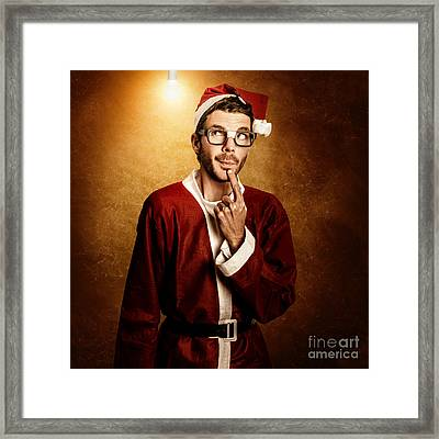 Santa Helper Thinking Smart Christmas Ideas Framed Print by Jorgo Photography - Wall Art Gallery