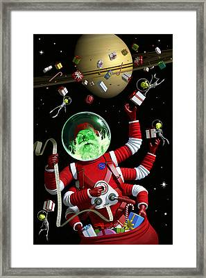 Santa In Space Framed Print by Alex Tomlinson