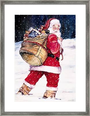 Santa In The Snow Framed Print