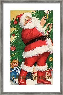 Santa Lighting Candles On A Christmas Tree Framed Print by American School