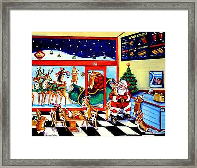 Santa Makes A Pit Stop Framed Print
