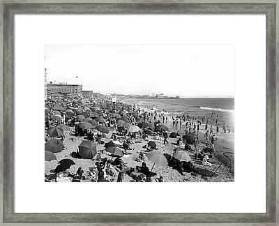 Santa Monica Beach And Pier C. 1910 Framed Print by Daniel Hagerman