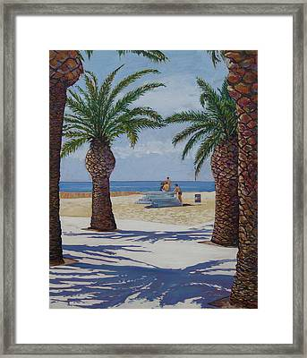 Santa Monica Beach  Framed Print by Karen Doyle