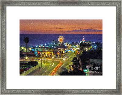 Framed Print featuring the photograph Santa Monica Ca  Pacific Park Pier by David Zanzinger
