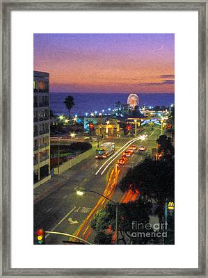 Framed Print featuring the photograph Santa Monica Ca Pacific Park Pier  Sunset by David Zanzinger