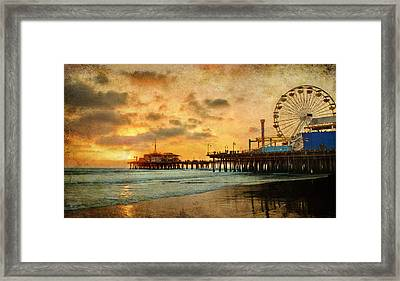Santa Monica California Pier At Sunset Framed Print