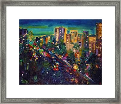 Santa Monica Glow Framed Print by Irit Bourla