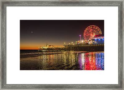 Santa Monica Pier After Sunset Framed Print