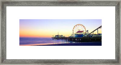 Santa Monica Pier At Sunset, California Framed Print by Panoramic Images
