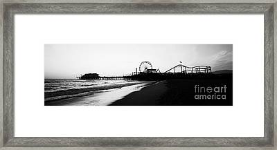Santa Monica Pier Black And White Panoramic Photo Framed Print