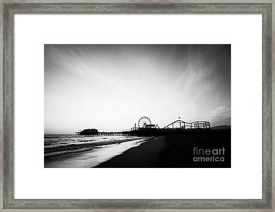 Santa Monica Pier Black And White Photo Framed Print by Paul Velgos