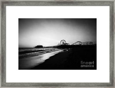 Santa Monica Pier Black And White Photography Framed Print