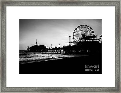 Santa Monica Pier Black And White Picture Framed Print by Paul Velgos