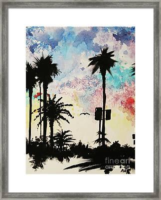 Santa Monica Pier - Center Two Of Three Framed Print by Ashlynn Apffel