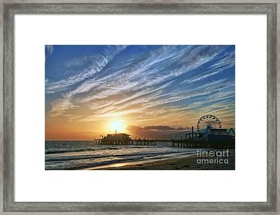 Santa Monica Pier Framed Print by Eddie Yerkish