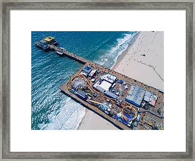 Santa Monica Pier From Above Side Framed Print by Andrew Mason