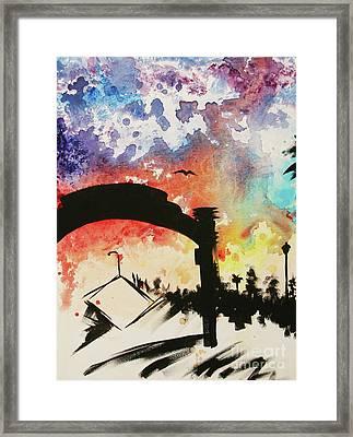 Santa Monica Pier - Left Side Three Of Three Framed Print by Ashlynn Apffel