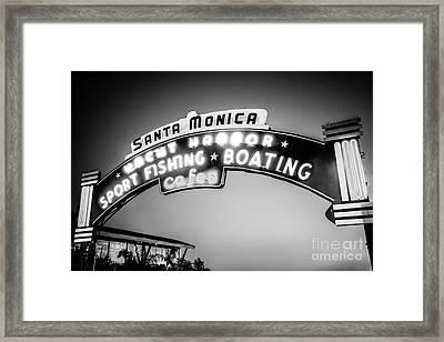 Santa Monica Pier Sign Black And White Photo Framed Print by Paul Velgos