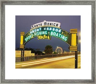 Santa Monica Pier Sign Santa Monica Ca Framed Print by Panoramic Images