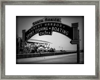 Santa Monica Sign Series Holga Black And White Framed Print by Ricky Barnard