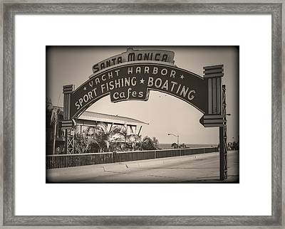 Santa Monica Sign Series Modern Vintage Framed Print