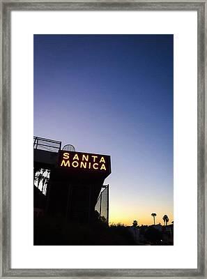 Santa Monica Sunrise Framed Print by Art Block Collections