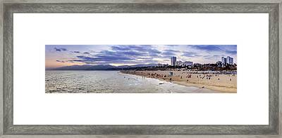 Santa Monica Sunset Panorama Framed Print by Ricky Barnard